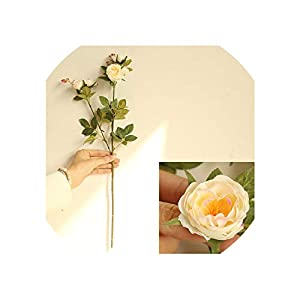 Artificial Flowers 5 Head Silk Camellia Rose Long Plastic Stem Wedding Road Lead Faux Flowers Fabric Fake Flower Home Decoration