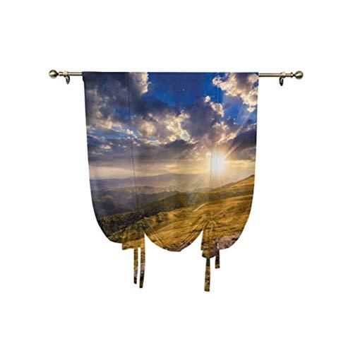 Nature - Cortina opaca con aislamiento térmico, diseño de colinas de montaña con sol brillante en prado, panorama rural y niebla, 95 x 150 cm, para ventanas del hogar, color azul ámbar