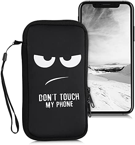 kwmobile Neoprene Sleeve for Smartphone Size XL – 6,7/6,8″ – Shock Absorbing Pouch Case – Protective Phone Bag – Don't Touch My Phone White/Black