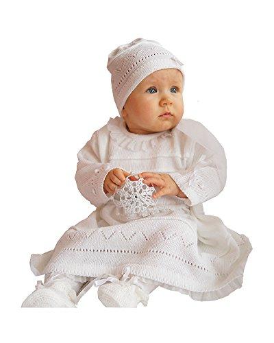 EKO Baby Taufkleid für Mädchen Strick-Set Mütze und Kleid weiß, Größe:74, Farbe:weiß