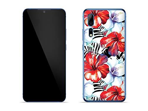 etuo Hülle für ZTE Axon 10 Pro 5G - Hülle Fantastic Hülle - Exotische Blumen Handyhülle Schutzhülle Etui Hülle Cover Tasche für Handy