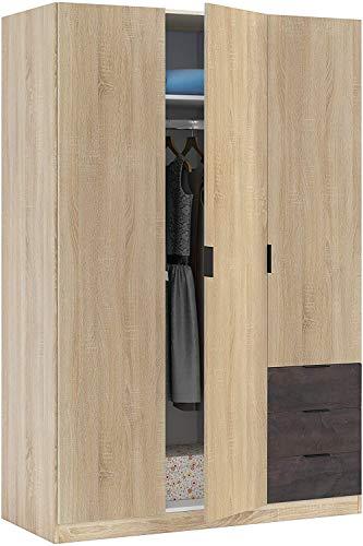 Mobelcenter – Armario 3 Puertas 3 Cajones – Armario Matrimonio Acabado Color Óxido y Roble Canadian – Medidas: Ancho: 121 cm x Fondo: 52 cm x Alto: 180 cm - (1097)