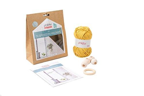 Phildar Kit de creación Suspensión macramé Coloris, algodón, Mostaza, 70x 18x 5cm
