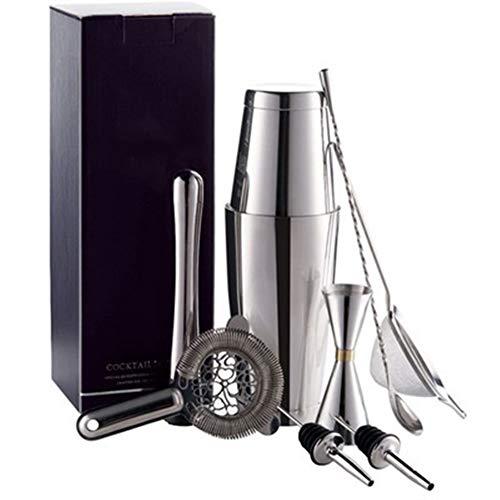 Juego de accesorios para hacer cócteles con colador de vaso de medición, 7 piezas, juego de bar de acero inoxidable Boston, coctelera, herramientas (color: plata)