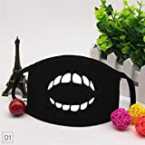 WKSNI Mund Maske 1 Stück Anti Staubmaske Kawaii Emoji Baumwolle Nette Mund Gesichtsmaske Lüften Cartoon Zähne Masken, 01