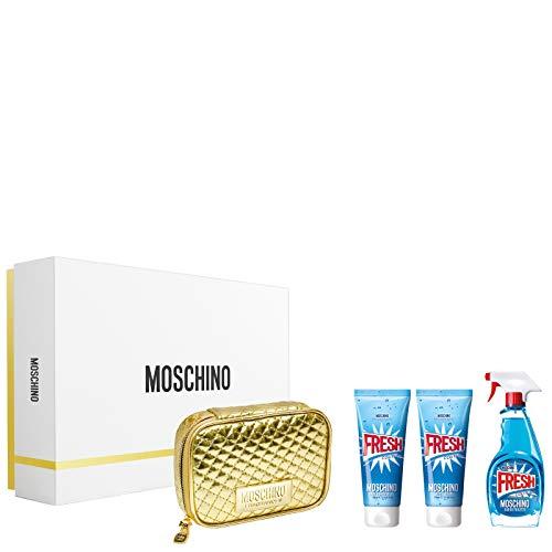 Moschino Fresh Couture for Women 4 Piece Gift Set (3.4 Eau De Toilette Spray / 3.4 Body Lotion /3.4 Body &Shower Gel/Golden Toiletry Bag)