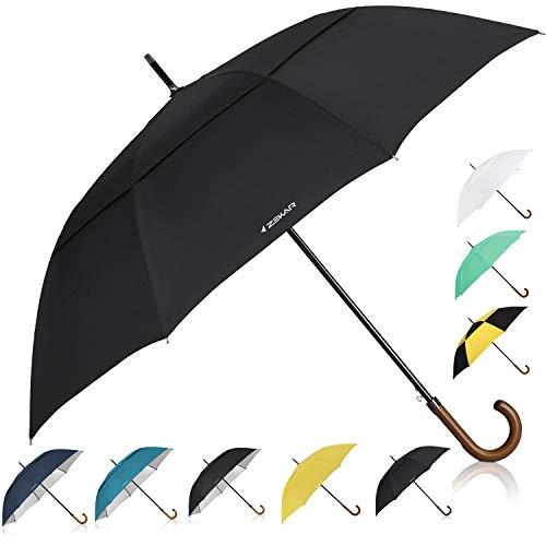 ZEKAR 54 inch Wooden J Handle Golf Umbrella, Classic Double Canopy Windproof Large Auto Open Rain Stick Umbrellas (54inch-black)