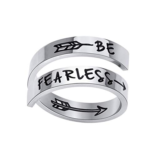 """Anello a doppio strato in acciaio inox con scritta """"Be Fearless"""", con scritta """"Be Fearless"""", ideale come regalo di compleanno e Natale, per donne e ragazze e adolescenti."""
