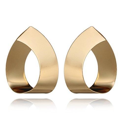 SOFEA 1 par de pendientes geométricos de metal dorado con forma de lágrima para mujer
