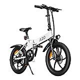 Bicicleta eléctrica ADO A20 250W Mujeres Hombres Bicicleta eléctrica/Bicicleta eléctrica de Ciudad con batería de Iones de Litio Desmontable de 36V 10.4Ah, 7 Velocidades Shimano