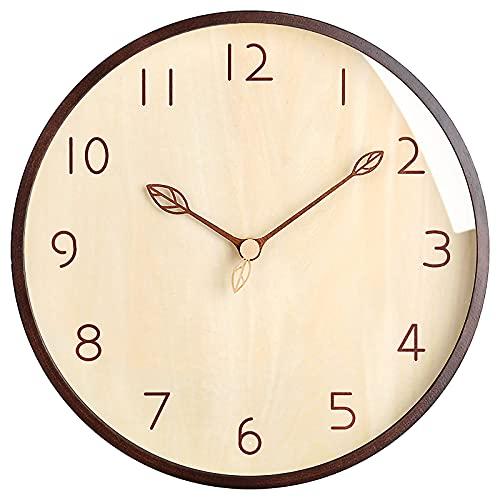 ACCSHINE Reloj de Pared de Madera Maciza de 12 Pulgadas, con Estilo Moderno, Movimiento Silencioso sin Ruido de Tictac, Adecuado para Sala de Estar, Dormitorio, Cocina y Habitación de Niños