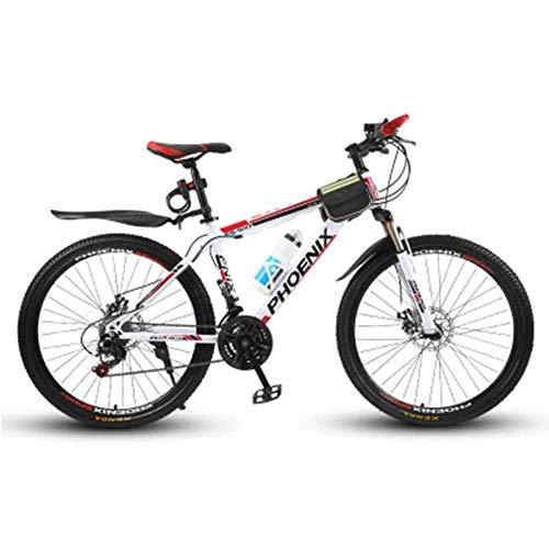 WEHOLY Vélo pour Hommes 'Mountain Bike', Cadre en Acier de 17 ', 24 Vitesses entièrement réglable, fourches de Suspension Avant à Amortisseur, Rouge, 21 Vitesses