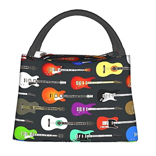 Aislado Bolsa de Enfriamiento Bolsa Térmica de Comestibles,Color de guitarras acústicas y eléctricas,para Office School Picnic Beach Travel