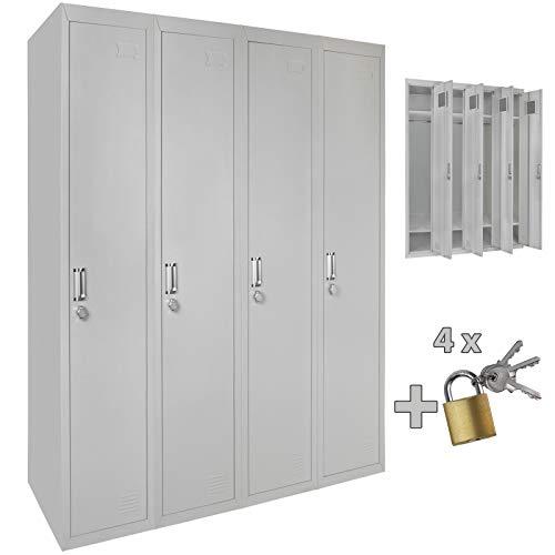 Vierfach Spind Schließfachschrank Metallschrank Garderobenschrank 180 x 120 x 50 cm ; Grau-Grau MIT Schlösser