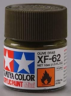 Tamiya TAMXF62 81762 Acrylic Mini XF62 Olive Drab 1/3 oz by Paints
