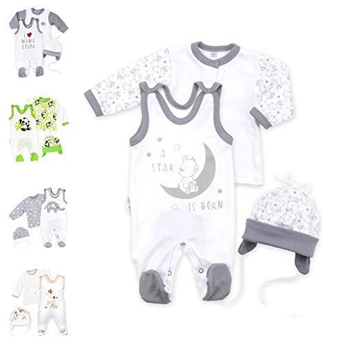 Baby Sweets Unisex 3er Baby-Set mit Strampler, Shirt & Mütze für Jungen und Mädchen in Weiß Grau/Erstausstattung Strampler-Set im Bär-Motiv für Neugeborene & Kleinkinder in der Größe: 6 Monate (68)