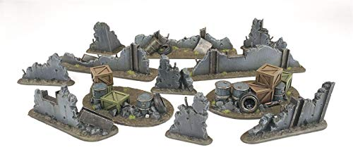 War World Gaming War Torn City Rubble and Barricade Kit - 28mm Heroic Scale Wargaming Terrain Model Diorama Scenery Wargame Warhammer 40K Necromunda Tabletop Battle Destroyed City