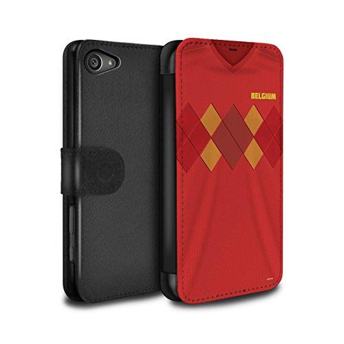 Stuff4 PU-Leder Hülle/Case/Tasche/Cover für Sony Xperia Z5 Compact/4.6 / Belgien/Belgisch Muster/Weltmeisterschaft 2018 Fußball Trikot Kollektion