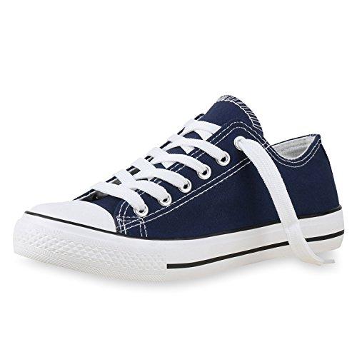SCARPE VITA Damen Sneakers Basic Sportschuhe Schnürer Stoffschuhe 138441 Dunkelblau 40