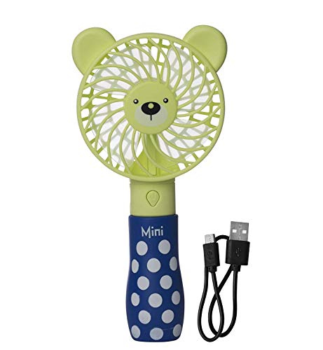 kidstech Mini Hand Held Fan - Operated with USB Rechargeable Battery - Cooling Electric Fan, Best for Outdoor Traveling - Colors May Vary