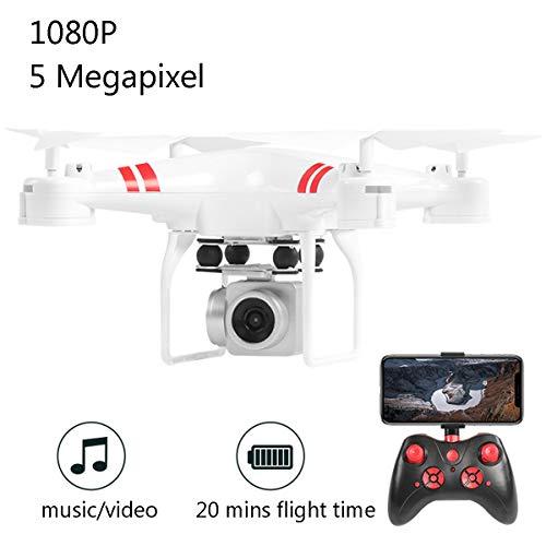 APJS KY101D RC Drone Action Cam Quadricopter Grande Telecomandato con Telecamera 1080P, Selfie Droni WiFi Un Pulsante Decollo e Atterraggio, FPV Racing Quadcopter Aerei Radiocomandato,Bianca