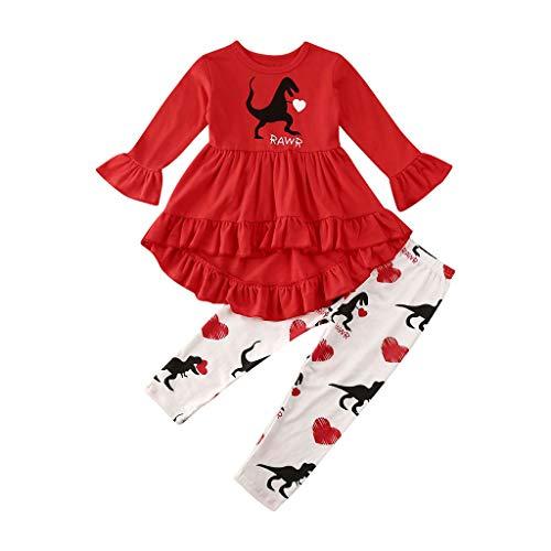 Juego de 2 piezas de ropa para recién nacidos para niñas de San Valentín con dibujos animados y pantalones de impresión para bebé, pijamas y niñas Rojo rosso 6-12 Meses