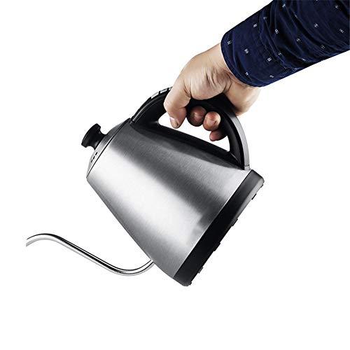 QWER Tetera de Cuello de Cisne 1L Hervidor eléctrico Aislamiento de Temperatura Ajustable Acero Inoxidable Goteo Tetera de té de café,Plata