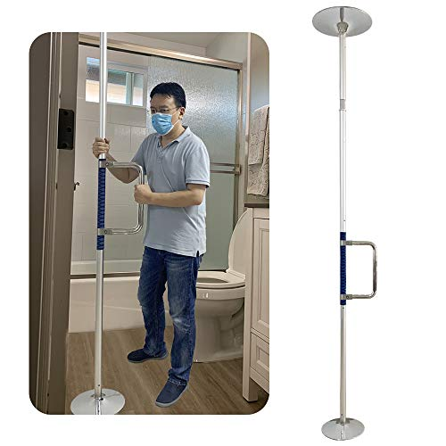 Security Pole Curve Grab Bar Couch Cane Wheelchair Stair Lifts for Elderly Support Pole Tension Mounted Floor to Ceiling Pole Stand Up Assist Shower Support Handicap Bathtub Safety Bars Toilet Rails