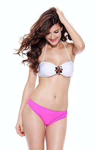 Martinad Damen Lingerie Fashion Elegante Sleeveless Bequem Dessous Bikini Rückenfrei Stilvolle Unikat Accessoire Dessous Bikini Grafik Diamant Schnalle Split Lady (Color : Weiß, Size : S)