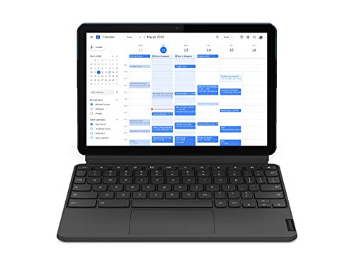 Lenovo IdeaPad Duet Chromebook Tablet, Display 10.1'' Full HD, Processore MediaTek P60T, Storage 64GB, RAM 4GB, Wi-Fi, ChromeOS, Lenovo Keyboard, Blu ghiaccio/Grigio ferro [CB]