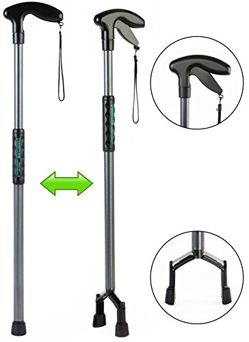Handy Cane (Large) All-In-One Walking Aid with Built-In Reacher Grabber