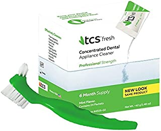 TCS Concentrated Dental Appliance Cleaner (6 Month Supply) + TCS Dental Appliance Brush