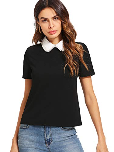 Romwe Women's Cute Contrast Collar Short Sleeve Casual Work Blouse Tops Beaded Black Small