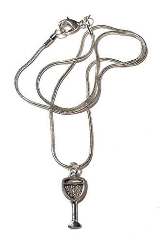 FizzyButton Geschenken Antieke Zilveren Toon Slang Ketting Ketting met Antieke Zilveren Toon Wijnglas Bedel in Turkoois Geschenkdoos