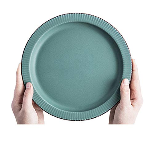 YLMF Plato de ensalada retro de cerámica de alta temperatura de cocción redonda verde poco profunda vajilla hogar vajilla anti-arañazos fácil de limpiar microondas lavavajillas 8 pulgadas