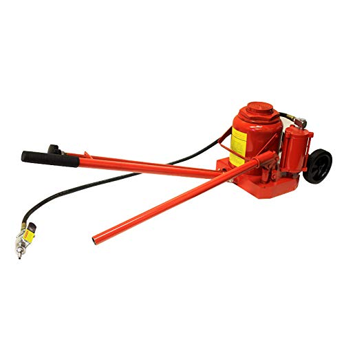Stark 50-Ton Air & Hydraulic Bottle Jack with Handle Bottle Jack with Built-In Wheels for Maneuverability, Red