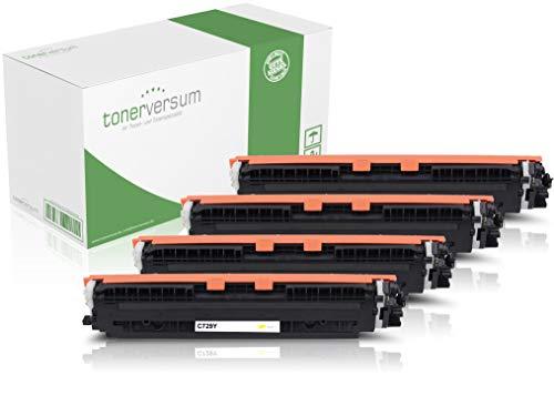 Juego de 4 Cartuchos de tóner compatibles con Canon 729 Negro, Cian, Magenta y Amarillo para Canon i-Sensys LBP-7010c LBP-7018c Lasershot LBP-7000