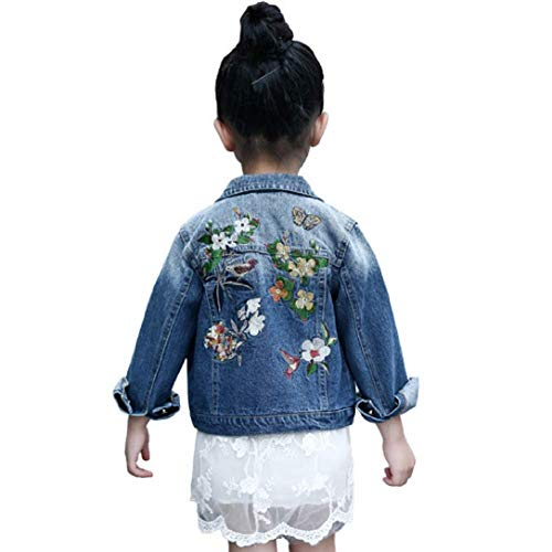 LSHEL Jeansjacke Mädchen Blumen Stickerei Kinder Denim Jacke Retro Outwear Casual Reverskragen, Blau, 134/140