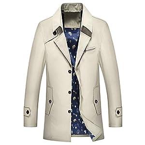 コート メンズ トレンチコート アウター コート 春秋冬 スタイリッシュ ボタン 綿 シンプル トレンチコート カジュアル ビジネス コート 米白 XL