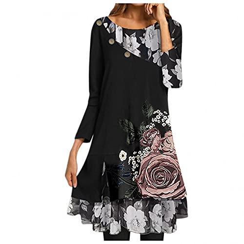 GFGHH Vestido de mujer de manga larga, cuello alto, túnica, sudadera, blusa suelta para mujer, tallas grandes, vestido de punto, cuello redondo, largo hasta la rodilla, estilo informal., Negro , XXL