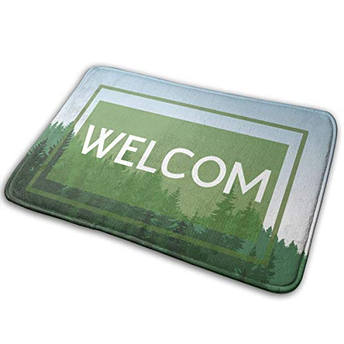 qinzuisp Alfombra De Entrada Green Welcome Forest Alfombra Felpudo Moderno Alfombra De Baño Cocina Interior 50X80Cm Piso Antideslizante Cuarto De Baño Área De Oficina Alfombras Exterior DEC