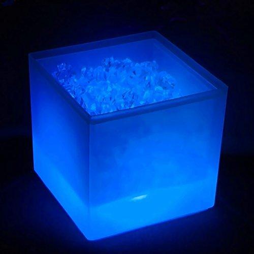 FLAMEER Secchiello Ghiaccio Portaghiaccio con LED Luminosi Che Cambia Colore Refrigeratore per Bevande Vino Champagne Birra per Feste Bar 3.5L - Blu