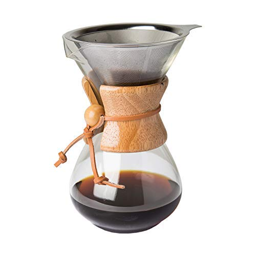 Comfify Pour Over Coffee Maker with Borosilicate Glass Carafe and Reusable Stainless Steel Permanent Filter Manual Coffee Dripper Brewer with Real Light Brown Wood Sleeve - 30 oz.