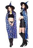 KIRALOVE Capa de Bruja para Disfraz - Color Azul - Disfraces Mujer - Carnaval - musaraña Azul de Halloween - Adultos - Unisex - Hombre - niños - Idea de Regalo Original