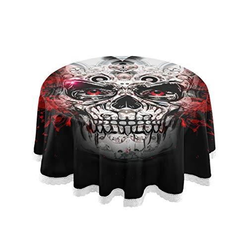 LIUBT Punk-coole runde Tischdecke mit Totenkopf-Motiv, für Weihnachten, Geburtstag, Hochzeit, Party, Esszimmer, Picknick, Küche, waschbar, 152 cm
