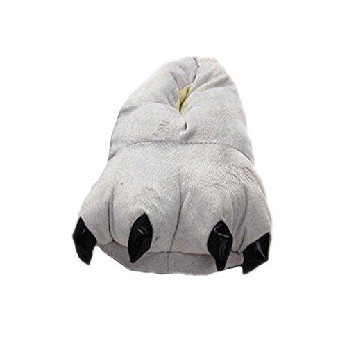 DELEY Unisex Cosplay Tier Kostüm Plüsch Home Hausschuhe Schlafanzug Schuhe Grau M