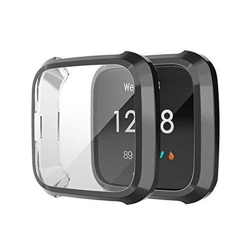 Schutzhülle für Fitbit Versa Lite,Colorful Schlank Rahmen TPU Case Cover Ultra dünn Schutz Hülle Fall Abdeckung Schützen Shell für Fitbit Versa Lite Smartwatch (Schwarz)
