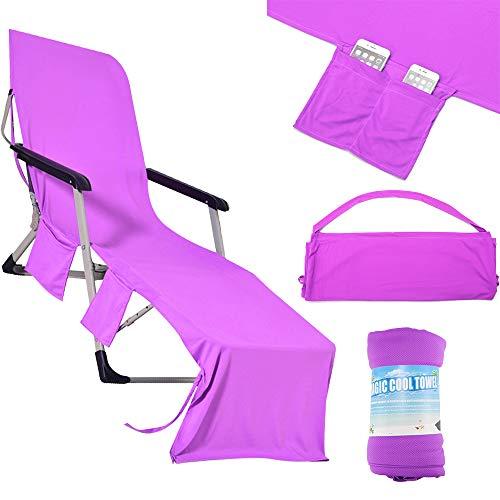 OurLeeme zonneligstoel, handdoek, zonneligstoel, strandmat, strandstoel, handdoekenovertrek, opvouwbaar, 210 x 75 cm, met zijvak lila