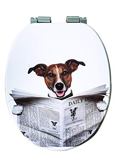 WC-Sitz Toilettensitz mit Absenkautomatik, Hochwertiger Toilettensitz aus Holz, Klodeckel in verschiedenen Motiven (Hund) von Kleebau