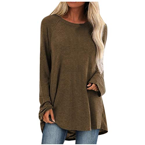 Aniywn Women's Plus Size Sweatshirt Tops Ladies Baggy Long Sleeve Thin Solid Pullover Blouse T Shirts(Brown,XL)